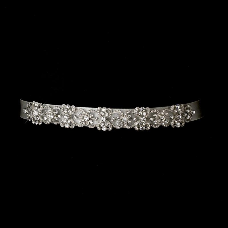 Vintage Satin Ribbon Belt or Headband, Wedding Headpiece, Bridal headpieces