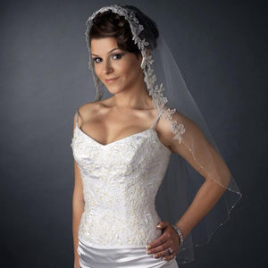 Bridal Veil with Lace, Beads Sequins - La Bella Bridal Accessories