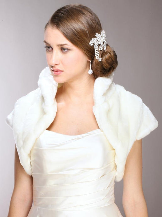 Faux Fur Bolero Jacket - La Bella Bridal Accessories