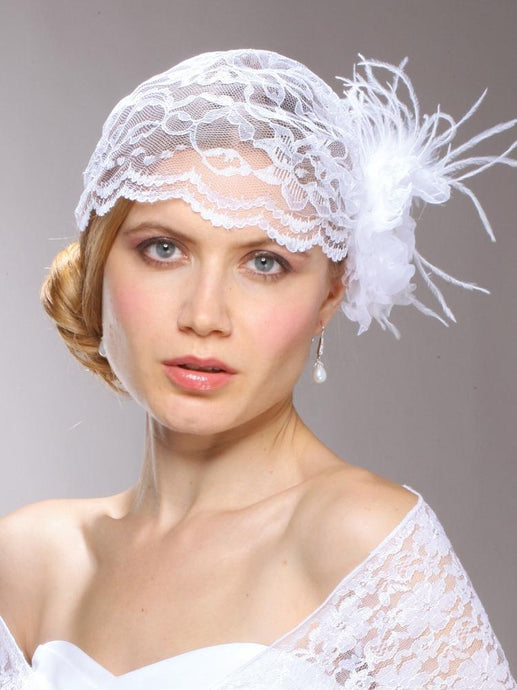 Juliet Cap in White Lace with Fascinator Flower Clip - La Bella Bridal Accessories
