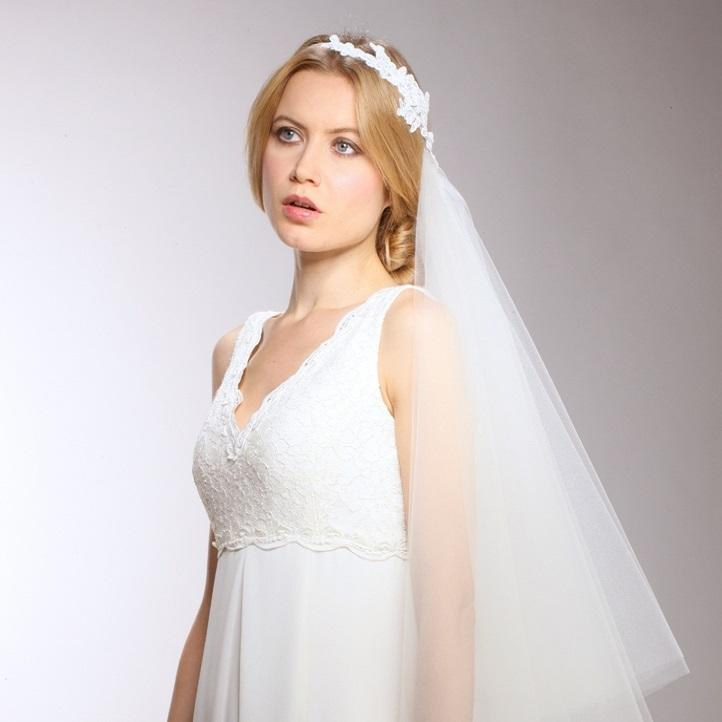 Bridal Veil one sided with Lace Headband - La Bella Bridal Accessories
