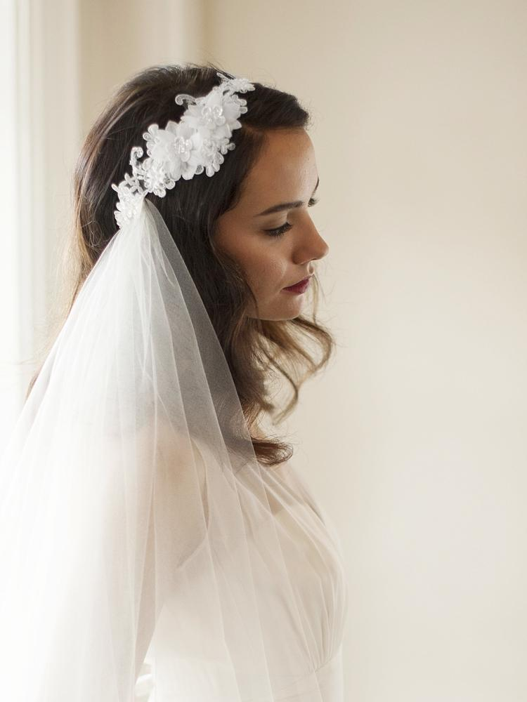 Couture two layer Side Veil with Crystal Lace Headband - La Bella Bridal Accessories