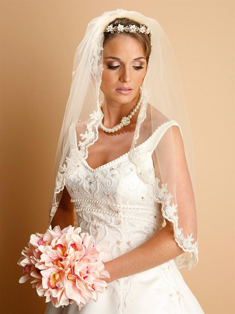 Lace Embroidered Mantilla Wedding Veil - La Bella Bridal Accessories