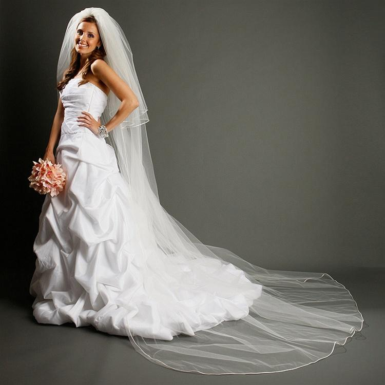 Cathedral Length Bridal Veil with Satin Corded Edge - La Bella Bridal Accessories