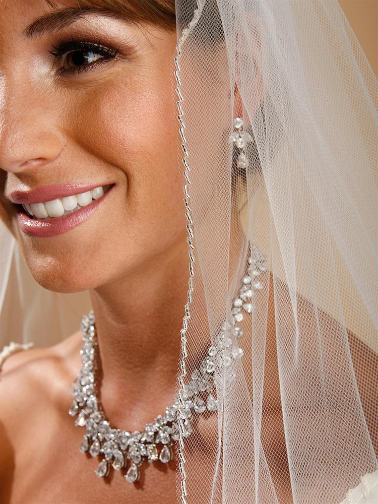 One Layer Bridal Veil with Zig Zag Bugle Bead Edging - La Bella Bridal Accessories