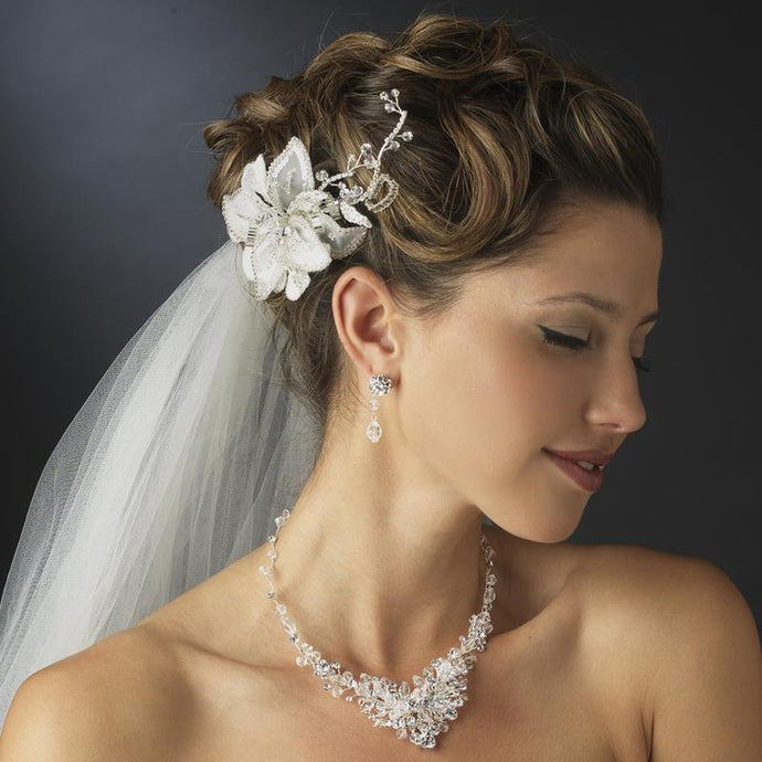 Swarovski Crystal Flower Hair Comb - La Bella Bridal Accessories