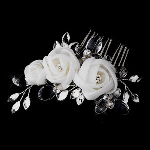 Crystal Flower Hair Comb - La Bella Bridal Accessories