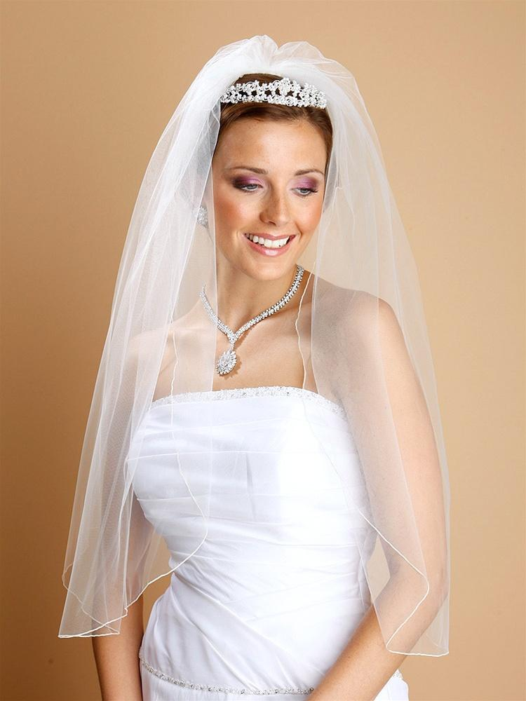 One Layer Bridal Veil with Pencil Edging - La Bella Bridal Accessories