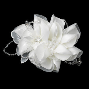 Silk Flower crystal beaded Hair Comb - La Bella Bridal Accessories