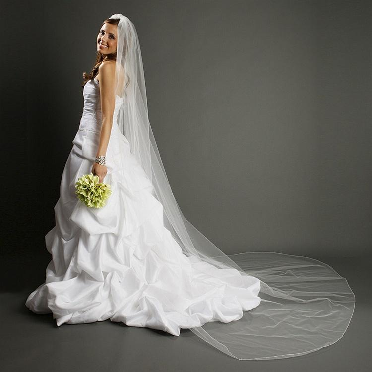 Cathedral Length Wedding Veil with Pencil Edging - La Bella Bridal Accessories