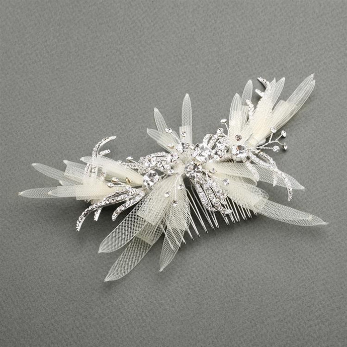 Crystal Pearl Bridal Hair Comb - La Bella Bridal Accessories