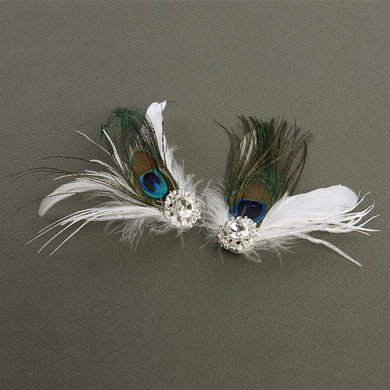 Peacock Feather Shoe Clips with Crystal