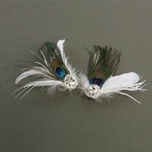 Peacock Feather Shoe Clips with Crystal - La Bella Bridal Accessories