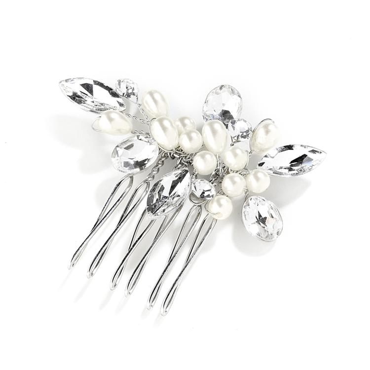Crystal and Pearl Bridal Hair Comb - La Bella Bridal Accessories