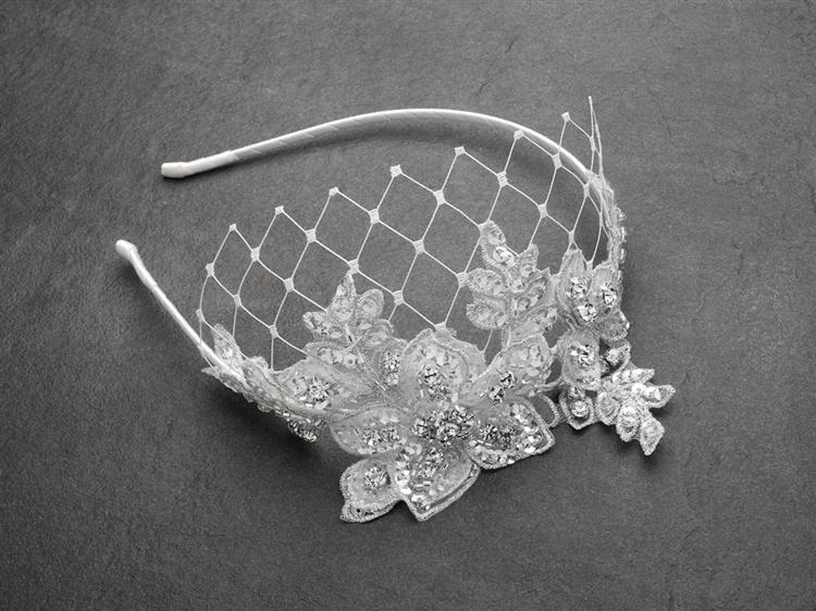 French Net Crystal Lace Bridal Headband - La Bella Bridal Accessories
