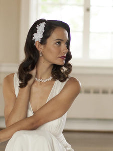 Lace Pearl Bridal Hair Comb - La Bella Bridal Accessories