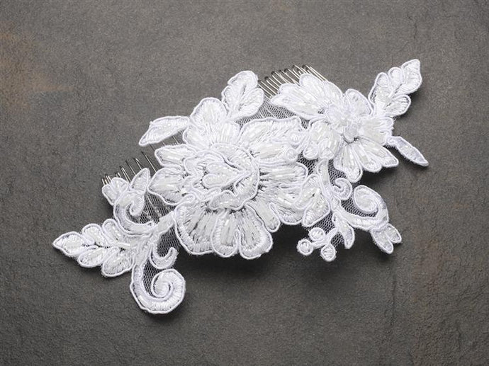 Ivory Lace beaded Bridal Hair Comb - La Bella Bridal Accessories