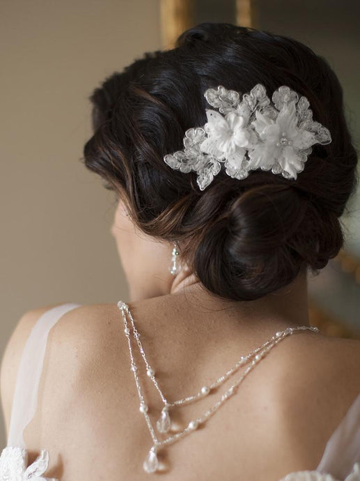 Beaded Floral Lace Bridal Comb - La Bella Bridal Accessories