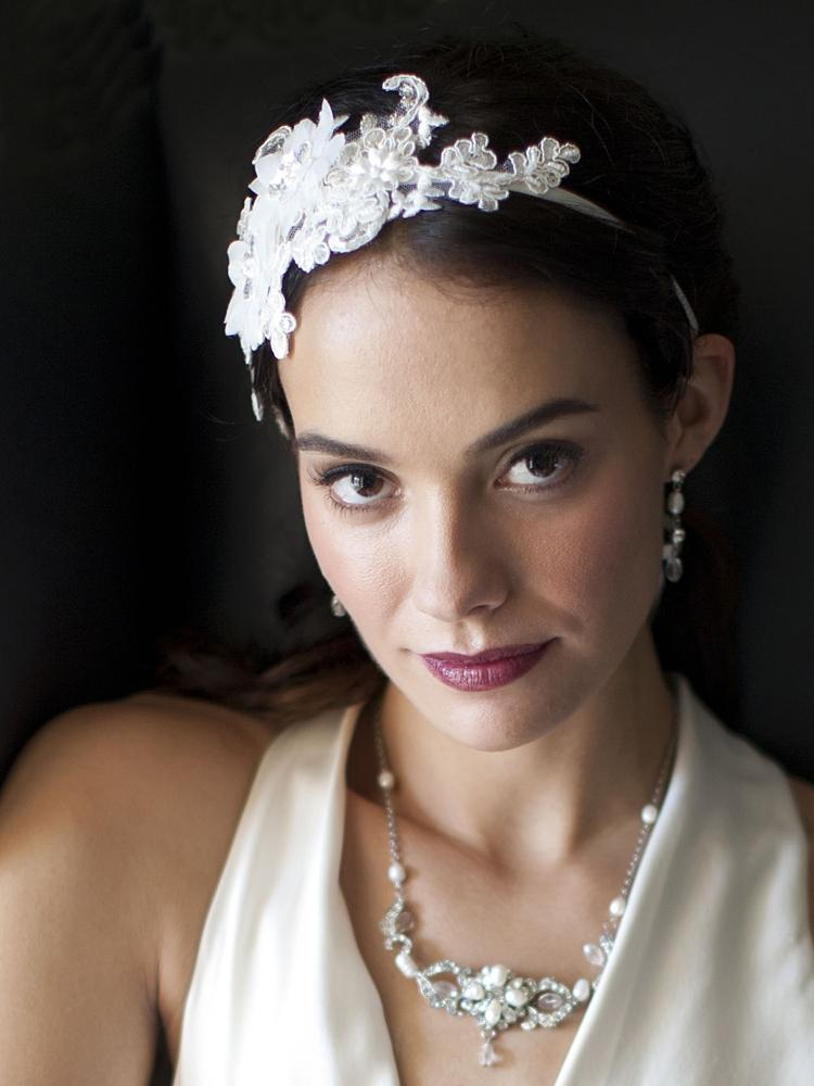 Silk Pearl Flower Lace Bridal Headband - La Bella Bridal Accessories