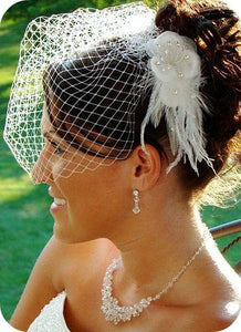 French Net Birdcage wedding Veil with Feather Flower, birdcage veil - La Bella Bridal Accessories