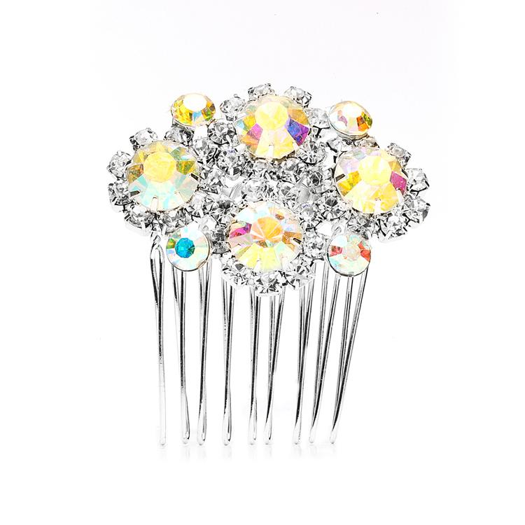 Dazzling AB Crystal Hair Comb - La Bella Bridal Accessories