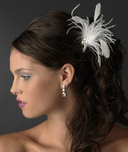 Cyrstal Feather Bridal Hair Pin - La Bella Bridal Accessories