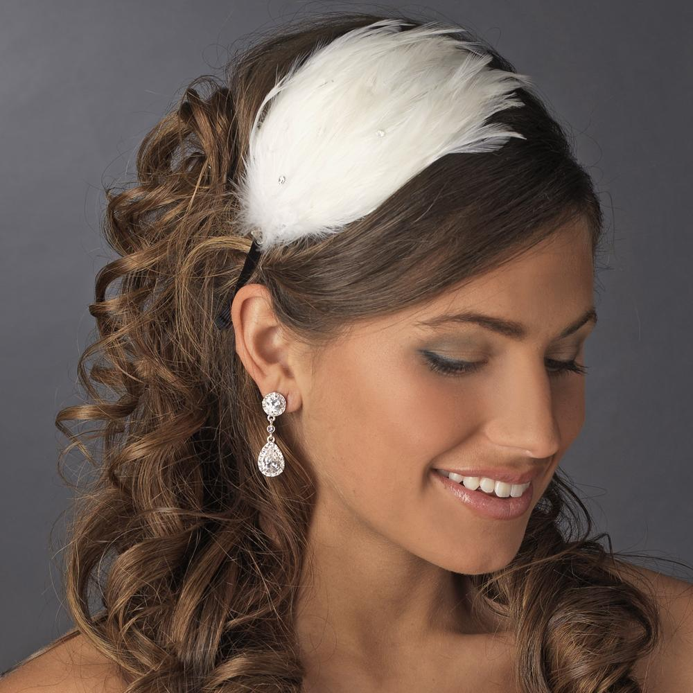 Diamond White Feather Headband - La Bella Bridal Accessories
