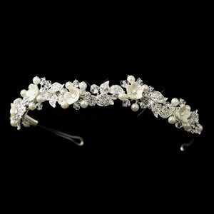 Flower Pearl Crystal Bridal Headband Tiara - La Bella Bridal Accessories