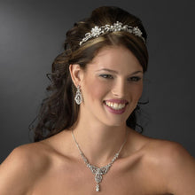 Antique Silver, Crystal Pearl Flower Headband - La Bella Bridal Accessories