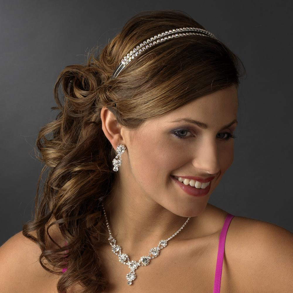 Double Row Crystal Bridal Headband - La Bella Bridal Accessories