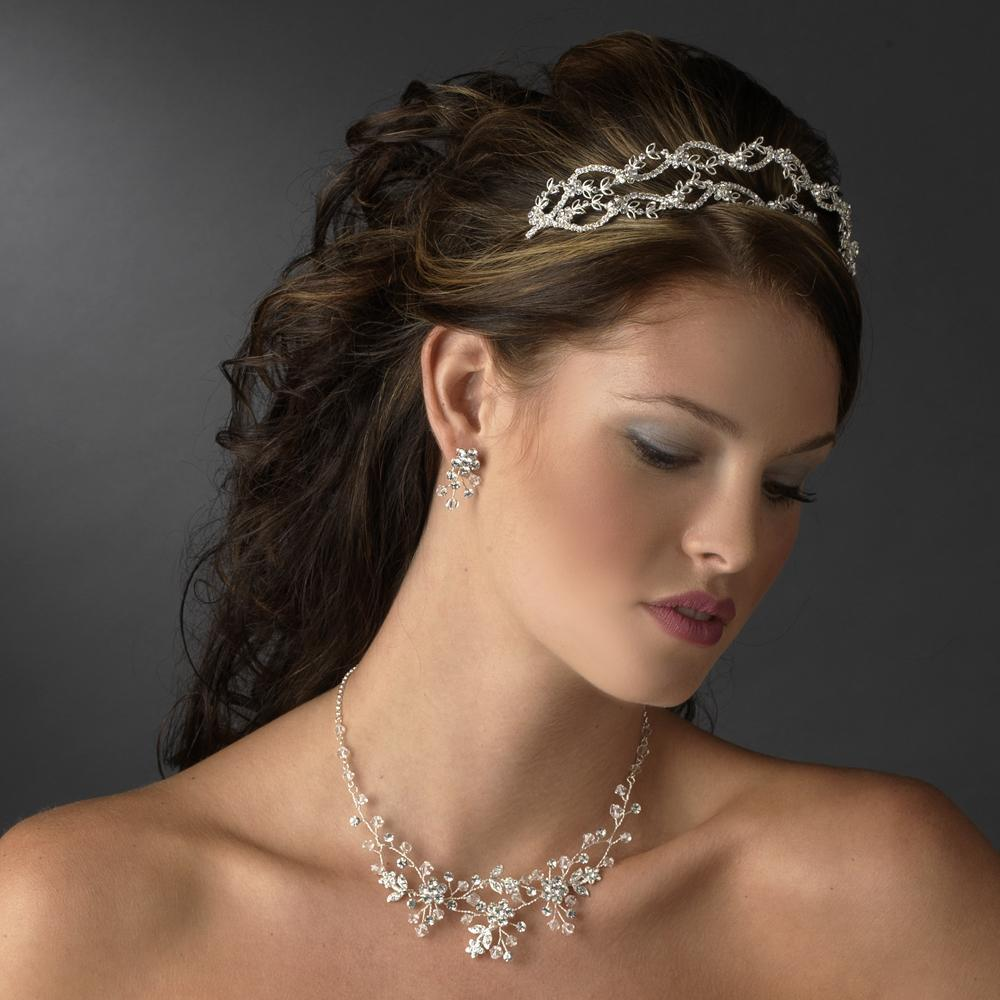 Dreamy Silver Crystal Flower Headband - La Bella Bridal Accessories