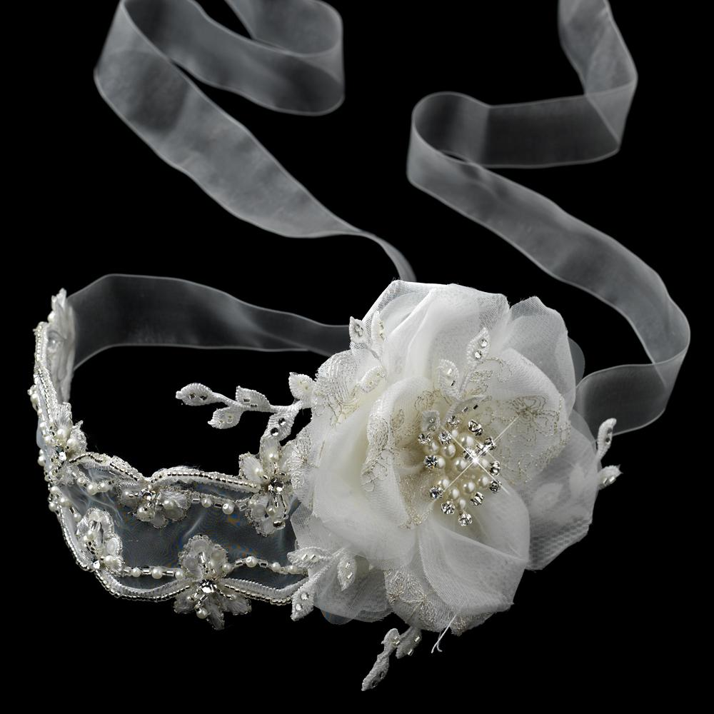 Elegant Ribbon Lace Bridal Flower Headband - La Bella Bridal Accessories