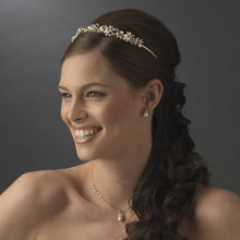Gold Flower Leaf Pearl Crystal Bridal Headband - La Bella Bridal Accessories