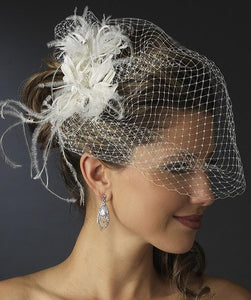 Feather & Crystal bridal comb with Birdcage Veil - La Bella Bridal Accessories