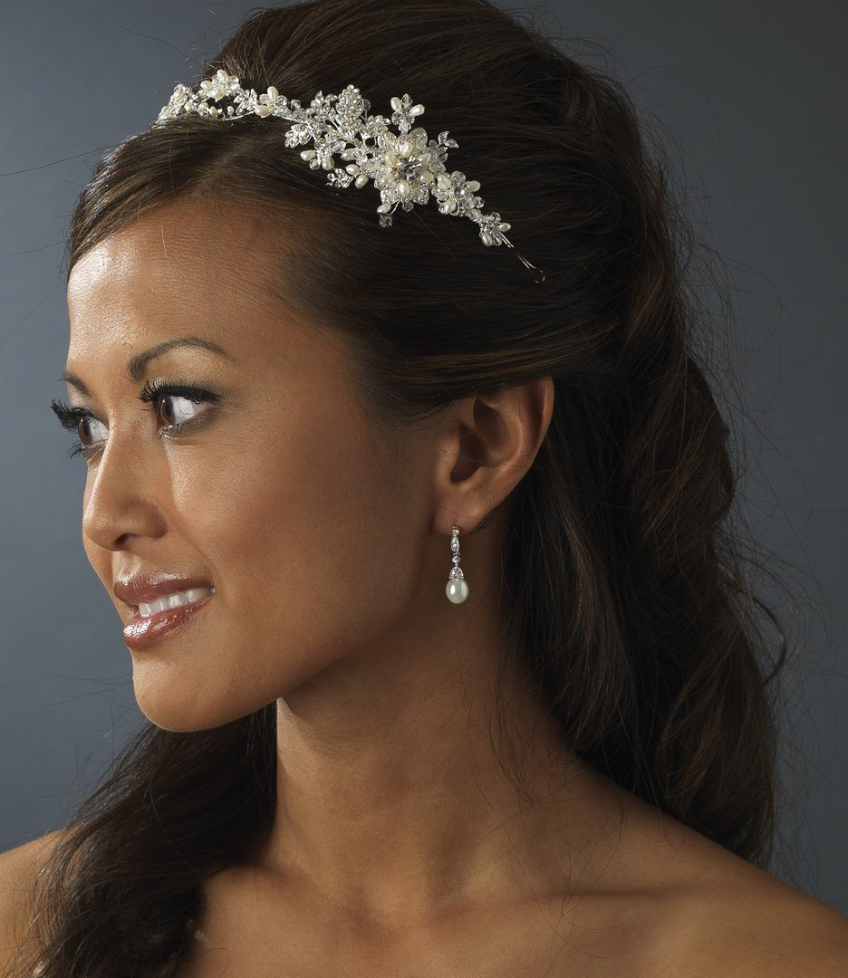 Pearl Crystal Headband Side Accent Hair Vine - La Bella Bridal Accessories