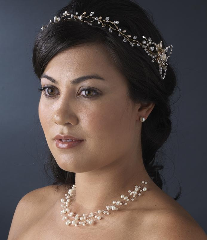Crystal Vintage Bridal Hair Vine with Side Accents - La Bella Bridal Accessories