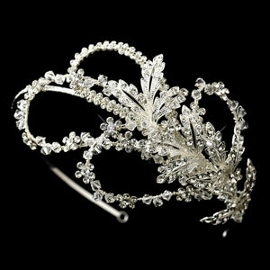 Crazy Pretty Modern Crystal Leaf Headband - La Bella Bridal Accessories