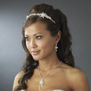 Floral Pearl Crystal Side Accent Headband - La Bella Bridal Accessories