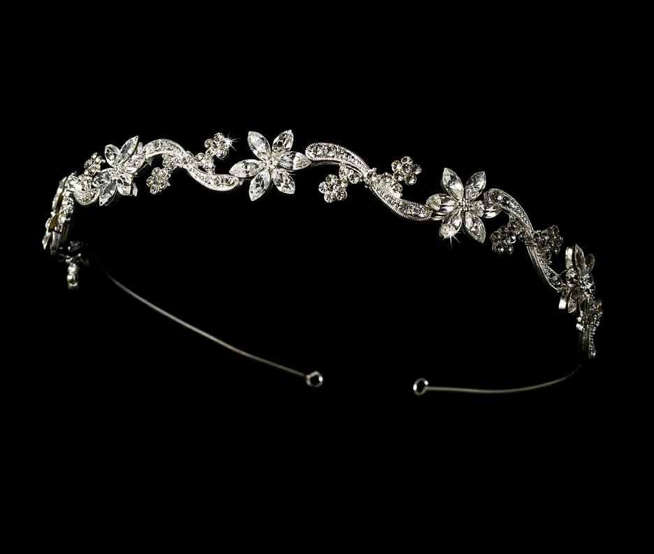 Silver Plated Swirl Crystal Headband - La Bella Bridal Accessories