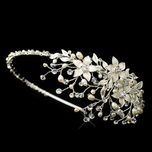 Pearl Crystal Side Accent Bridal Headband - La Bella Bridal Accessories