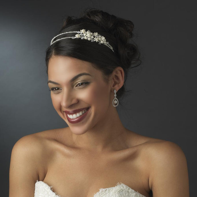Pearl Crystal Side Accented Headband - La Bella Bridal Accessories