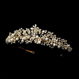 Crystal Freshwater Pearl Bridal Tiara - La Bella Bridal Accessories