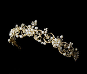 Swarovski Crystal Pearl Tiara, Wedding Headpiece, Bridal headpieces - La Bella Bridal Accessories