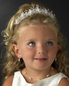 Pretty crystal & pearl flower girl tiara - La Bella Bridal Accessories