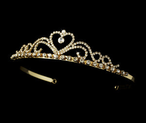 Sweet Crystal Heart Tiara - La Bella Bridal Accessories