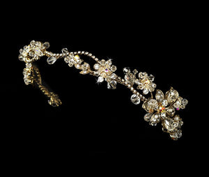 Gold or Silver Crystal Flower Headband - La Bella Bridal Accessories