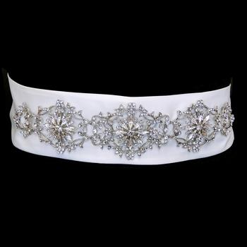Crystal Floral Bridal Sash Belt - La Bella Bridal Accessories