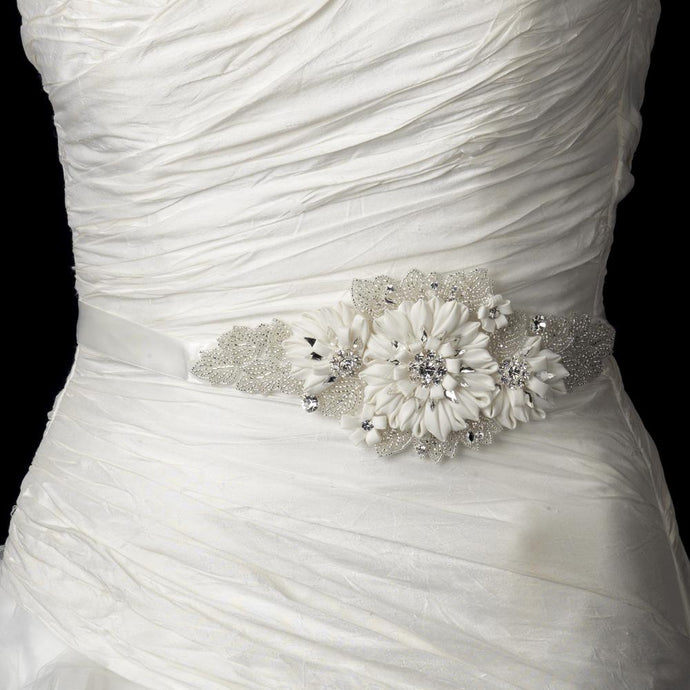 Beaded Crystal Silk Flower Wedding Belt Sash - La Bella Bridal Accessories