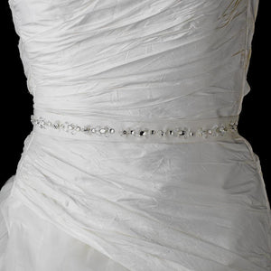 Crystal Bugle Beaded Wedding Sash - La Bella Bridal Accessories
