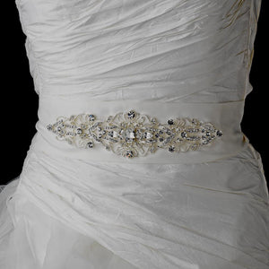 Elegant Crystal Wedding Sash - La Bella Bridal Accessories